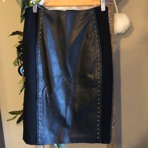 White House Black Market Leather Studded Skirt